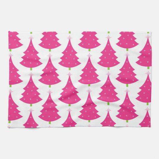 Pretty Pink Retro Christmas Tree Pattern Kitchen Towel