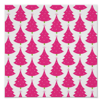Pretty Pink Retro Christmas Tree Pattern Poster