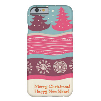 Pretty Pink Retro Merry Christmas Tree Pattern Barely There iPhone 6 Case