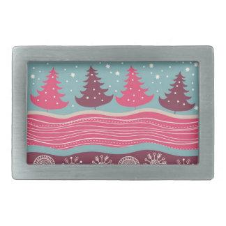 Pretty Pink Retro Merry Christmas Tree Pattern Belt Buckle