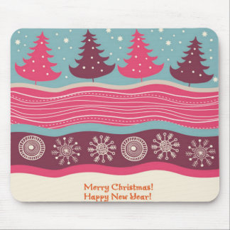 Pretty Pink Retro Merry Christmas Tree Pattern Mouse Pad