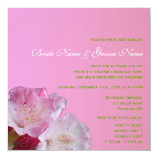 Pretty pink rhododendron flowers wedding card