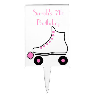 Pretty Pink Roller Skate Birthday Cake Topper