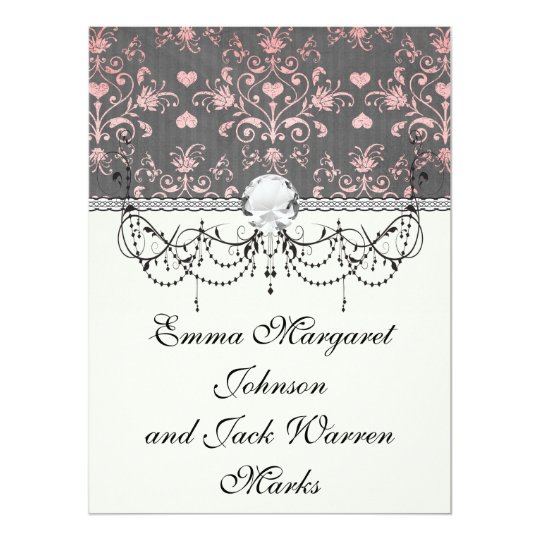 pretty pink romantic heart damask on vintage grey card