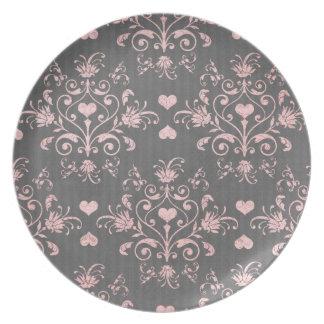 pretty pink romantic heart damask on vintage grey dinner plate