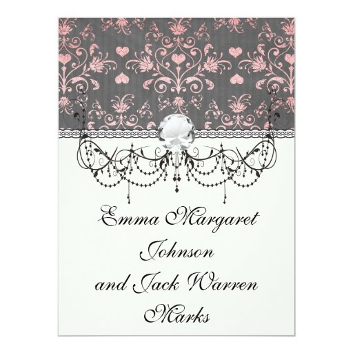 pretty pink romantic heart damask on vintage grey 6.5x8.75 paper invitation card