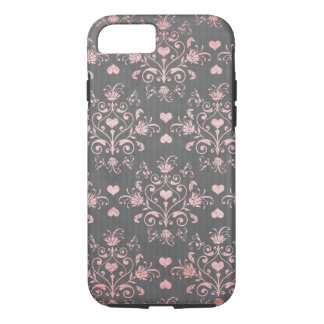 pretty pink romantic heart damask on vintage grey iPhone 8/7 case