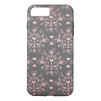 pretty pink romantic heart damask on vintage grey iPhone 8 plus/7 plus case