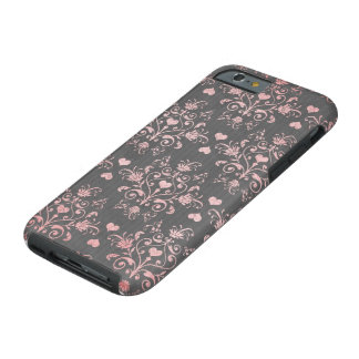 pretty pink romantic heart damask on vintage grey tough iPhone 6 case