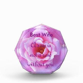 Pretty Pink Rose Acrylic Award