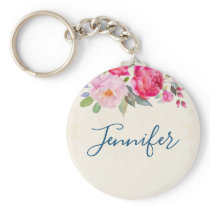 Pretty Pink Rose and Peony Border Keychain