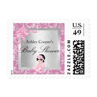 Pretty Pink Rose Baby Baby Shower Postage Stamp