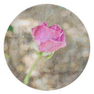 Pretty Pink Rose Bud Melamine Plate