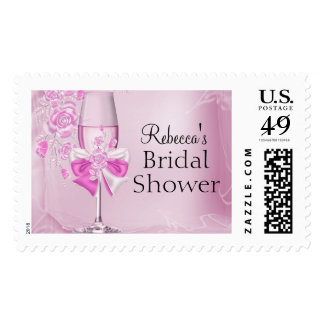 Pretty Pink Rose & Champagne Bridal Shower Stamp Postage Stamps