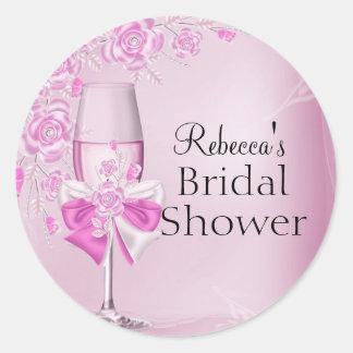 Pretty Pink Rose & Champagne Bridal Shower Sticker