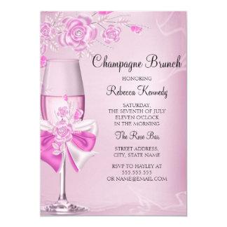 Pretty Pink Rose Champagne Brunch Invitation