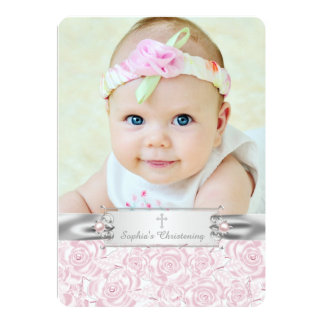 Pretty Pink Rose Christening Personalized Invitations