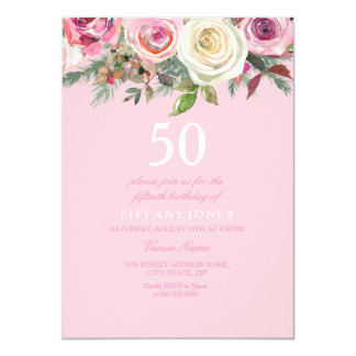 Pretty Pink Rose Floral 50th Birthday Invite