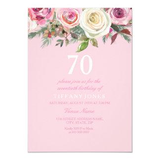 Pretty Pink Rose Floral 70th Birthday Invite