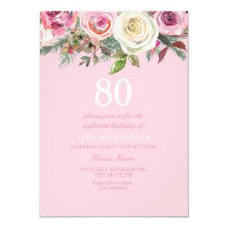 Pretty Pink Rose Floral 80th Birthday Invite