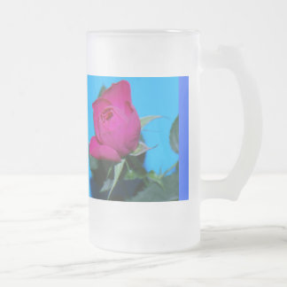 Pretty Pink Rose Frosted Glass Beer Mug
