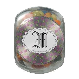 Pretty Pink Rose Glass Candy Jars