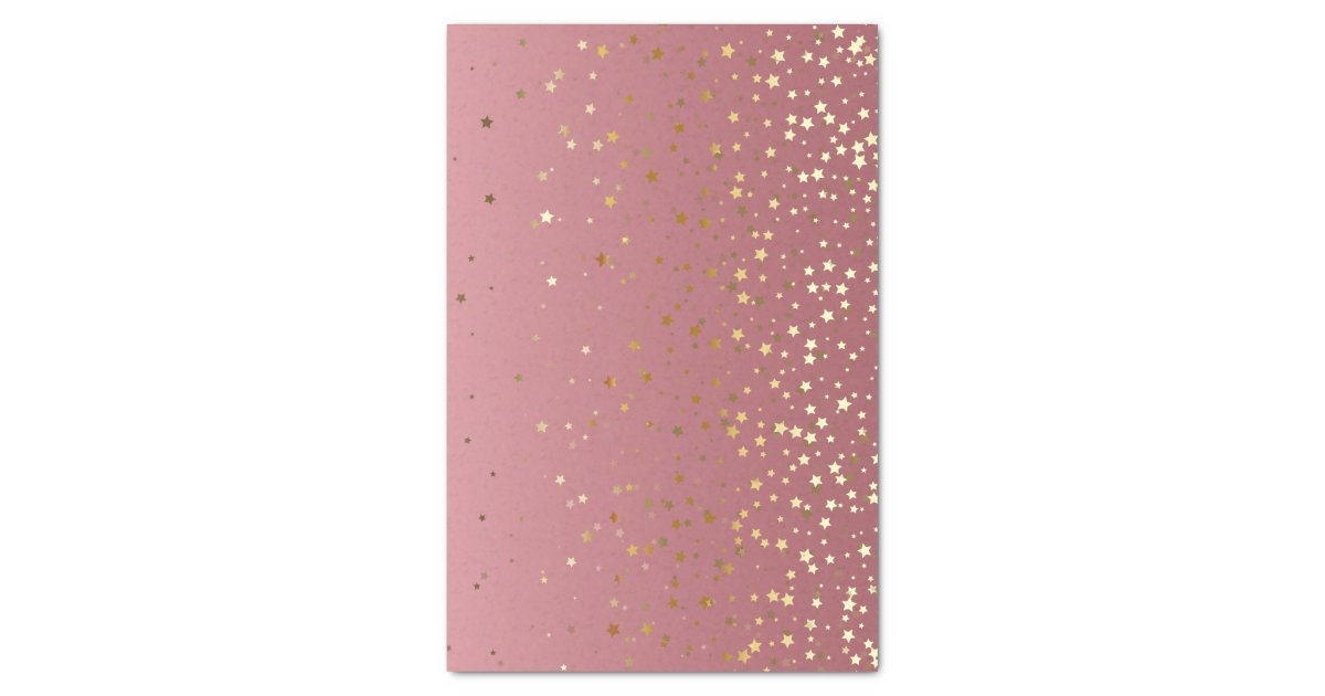 Pretty Pink Rose Gold Background And Glitter Stars Tissue