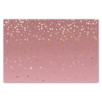 Pretty Pink Rose Gold Background And Glitter Stars Tissue Paper