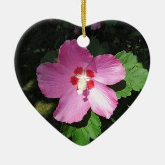 Pretty Pink Rose Of Sharon Flower Ceramic Ornament