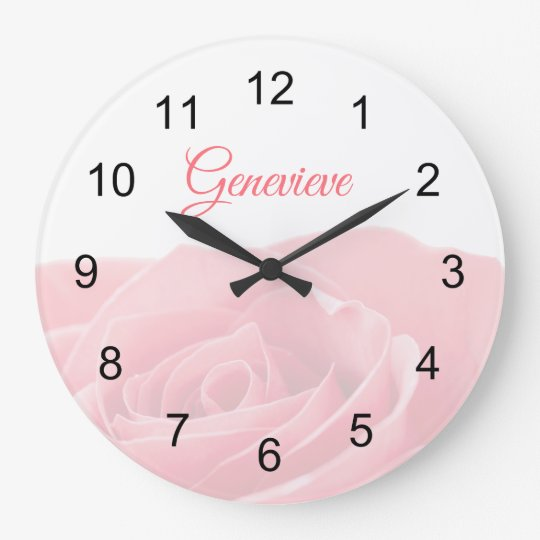 Pretty Pink Rose Personalized With Name Wall Clock Zazzle Com