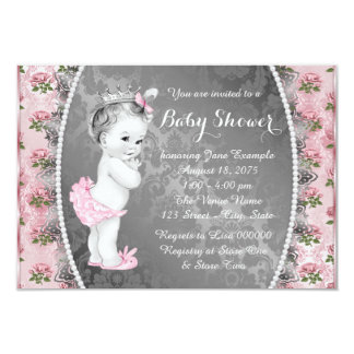 Pretty Pink Rose Pink and Gray Baby Shower 3.5x5 Paper Invitation Card