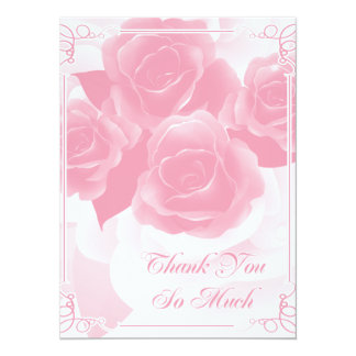 Pretty Pink Rose Thank You Flat Cards Custom Invites