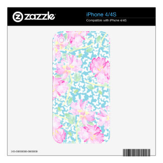 Pretty Pink Roses and Butterflies iPhone 4 Skin