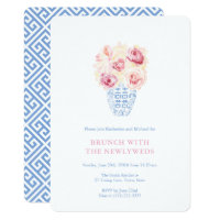 Pretty Pink Roses Blue And White Newlyweds Brunch Invitation