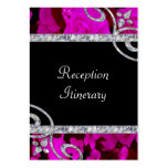 Pretty Pink Roses & Diamond Swirls Wedding Business Card Templates