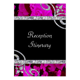 Pretty Pink Roses & Diamond Swirls Wedding Large Business Cards (Pack Of 100)