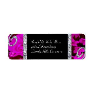 Pretty Pink Roses & Diamond Swirls Wedding Return Address Label
