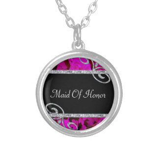 Pretty Pink Roses & Diamond Swirls Wedding Silver Plated Necklace