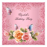 Pretty Pink Roses Floral Birthday Party Custom Invitation