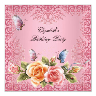 Pretty Pink Roses Floral Birthday Party 5.25x5.25 Square Paper Invitation Card