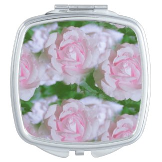 Pretty Pink Roses Floral Compact Mirror