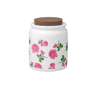 Pretty pink roses floral jar - white candy jar