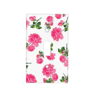 Pretty pink roses floral pattern light switch plate