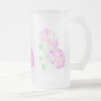 Pretty Pink Roses Frosted Glass Mug