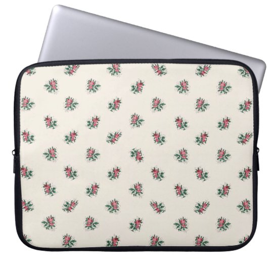 Pretty Pink Roses Girly Vintage Wallpaper Pattern Computer Sleeve