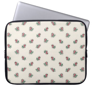 Pretty Pink Roses Girly Vintage Wallpaper Pattern Laptop Sleeves