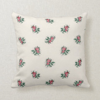 Pretty Pink Roses Girly Vintage Wallpaper Pattern Throw Pillows