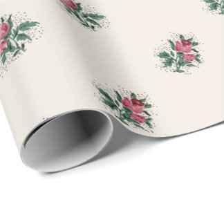 Pretty Pink Roses Girly Vintage Wallpaper Pattern Wrapping Paper