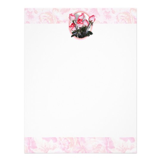 Pretty  Pink Roses on Rosy Background Letterhead