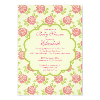 "Pretty Pink Roses Spring Baby Shower Invitation 5"" X 7"" Invitation Card"